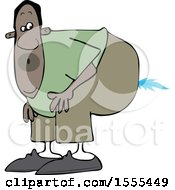 Clipart Of A Cartoon Black Man Farting A Blue Flame Royalty Free Vector Illustration
