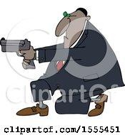 Clipart Of A Cartoon Black Man Kneeling And Using A Pistol Royalty Free Vector Illustration