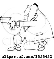 Clipart Of A Cartoon Lineart Black Man Kneeling And Using A Pistol Royalty Free Vector Illustration