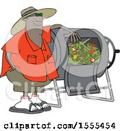 Cartoon Black Man Resting An Arm On His Composter Bin