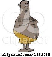 Poster, Art Print Of Hairy Chubby Black Man With Folded Arms Standing In Swim Trunks