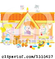 Clipart Of A Cat And Butterfly Over Caucasian Kids Playing In A Toy House Royalty Free Vector Illustration