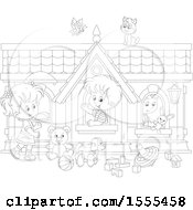 Clipart Of A Lineart Cat And Butterfly Over Children Playing In A Toy House Royalty Free Vector Illustration