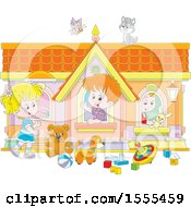 Clipart Of A Cat And Butterfly Over Kids Playing In A Toy House Royalty Free Vector Illustration