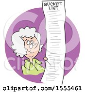 Clipart Of A Cartoon White Senior Lady With A Long Bucket List In A Purple Circle Royalty Free Vector Illustration