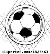 Soccer Ball Over A Sketched Diamond Of Netting On White