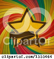 Star And Banner Over A Colorful Swirl