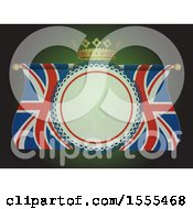 Poster, Art Print Of Crown Over A Union Jack Flag Banner With Text Space On Green