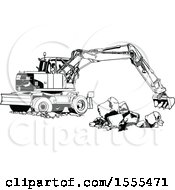 Clipart Of A Black And White Excavator Machine Moving Concrete Blocks Royalty Free Vector Illustration