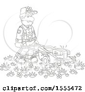 Clipart Of A Lineart Male Landscaper Using A Push Mower Royalty Free Vector Illustration