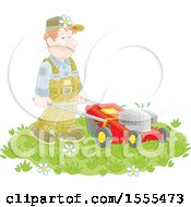 Clipart Of A Caucasian Male Landscaper Using A Push Mower Royalty Free Vector Illustration