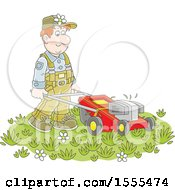 Clipart Of A White Male Landscaper Using A Push Mower Royalty Free Vector Illustration