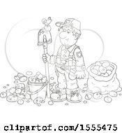 Clipart Of A Lineart Male Potato Farmer With A Bird On His Shovel Royalty Free Vector Illustration