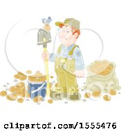 Clipart Of A Caucasian Male Potato Farmer With A Bird On His Shovel Royalty Free Vector Illustration