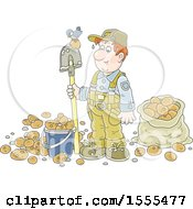 Clipart Of A White Male Potato Farmer With A Bird On His Shovel Royalty Free Vector Illustration