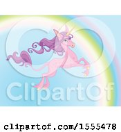 Leaping Pink Unicorn With Long Purple Hair And A Rainbow