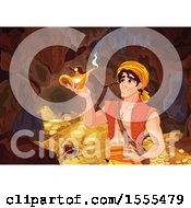 Handsome Arabian Man Aladdin Discovering A Genie Lamp In A Cave Of Riches