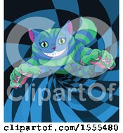 Grinning Striped Blue And Green Cheshire Cat In A Wormhole
