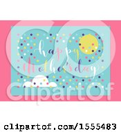Happy Mothers Day Greeting With A Sun Cloud And Dots On Pink And Blue