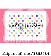 Happy Mothers Day Greeting With Dots On Pink And White