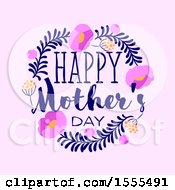 Happy Mothers Day Greeting In A Floral Frame On Pink