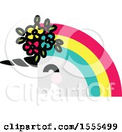 Clipart Of A Rainbow Haired Unicorn Head Royalty Free Vector Illustration