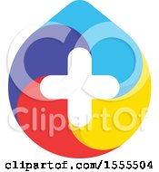 Clipart Of A Droplet With A Medical Cross Royalty Free Vector Illustration