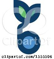 Letter B Blueberry And Leaf Design
