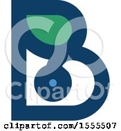 Clipart Of A Letter B Blueberry And Leaf Design Royalty Free Vector Illustration
