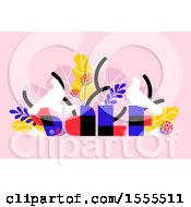 Clipart Of A Bird And Tropical Foliage Sale Design On Pink Royalty Free Vector Illustration by elena