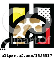 Clipart Of A Patterned Letter H Horse Design Royalty Free Vector Illustration