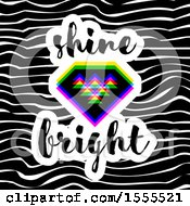 Geometric Diamond With Shine Bright Text Over Waves
