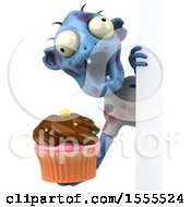 Clipart Of A 3d Blue Zombie Holding A Cupcake On A White Background Royalty Free Illustration by Julos