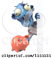 Poster, Art Print Of 3d Blue Zombie Holding A Piggy Bank On A White Background