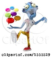 Clipart Of A 3d Blue Zombie Holding Messages On A White Background Royalty Free Illustration by Julos