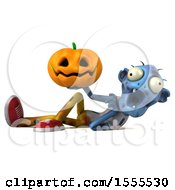 Clipart Of A 3d Blue Zombie Holding A Jackolantern On A White Background Royalty Free Illustration by Julos