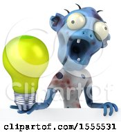 Clipart Of A 3d Blue Zombie Holding A Light Bulb On A White Background Royalty Free Illustration by Julos