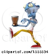 Clipart Of A 3d Blue Zombie Holding A  On A White Background Royalty Free Illustration by Julos