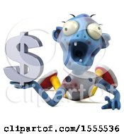 Clipart Of A 3d Blue Zombie Holding A Dollar Sign On A White Background Royalty Free Illustration by Julos