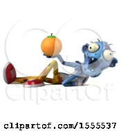 Clipart Of A 3d Blue Zombie Holding An Orange On A White Background Royalty Free Illustration by Julos