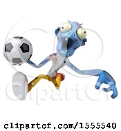 Clipart Of A 3d Blue Zombie Holding A Soccer Ball On A White Background Royalty Free Illustration by Julos