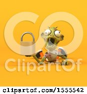 Clipart Of A 3d Zombie Holding A Padlock On A Yellow Background Royalty Free Illustration by Julos