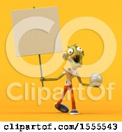Clipart Of A 3d Zombie Holding A Golf Ball On A Yellow Background Royalty Free Illustration by Julos