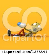 Clipart Of A 3d Zombie Holding A Pill On A Yellow Background Royalty Free Illustration by Julos