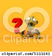 Clipart Of A 3d Zombie Holding A Question Mark On A Yellow Background Royalty Free Illustration by Julos