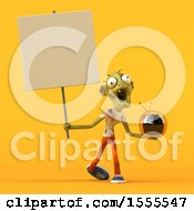 Clipart Of A 3d Zombie Holding A Tv On A Yellow Background Royalty Free Illustration by Julos