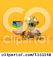 Clipart Of A 3d Zombie Holding Books On A Yellow Background Royalty Free Illustration by Julos