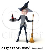 Clipart Of A 3d Sexy Blue Witch Holding A Wine Tray On A White Background Royalty Free Illustration by Julos
