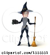 Clipart Of A 3d Sexy Blue Witch Holding A Camera On A White Background Royalty Free Illustration by Julos