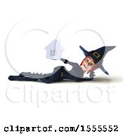 Clipart Of A 3d Sexy Blue Witch Holding A House On A White Background Royalty Free Illustration by Julos